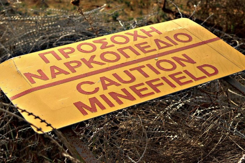 Caution Minefield sign